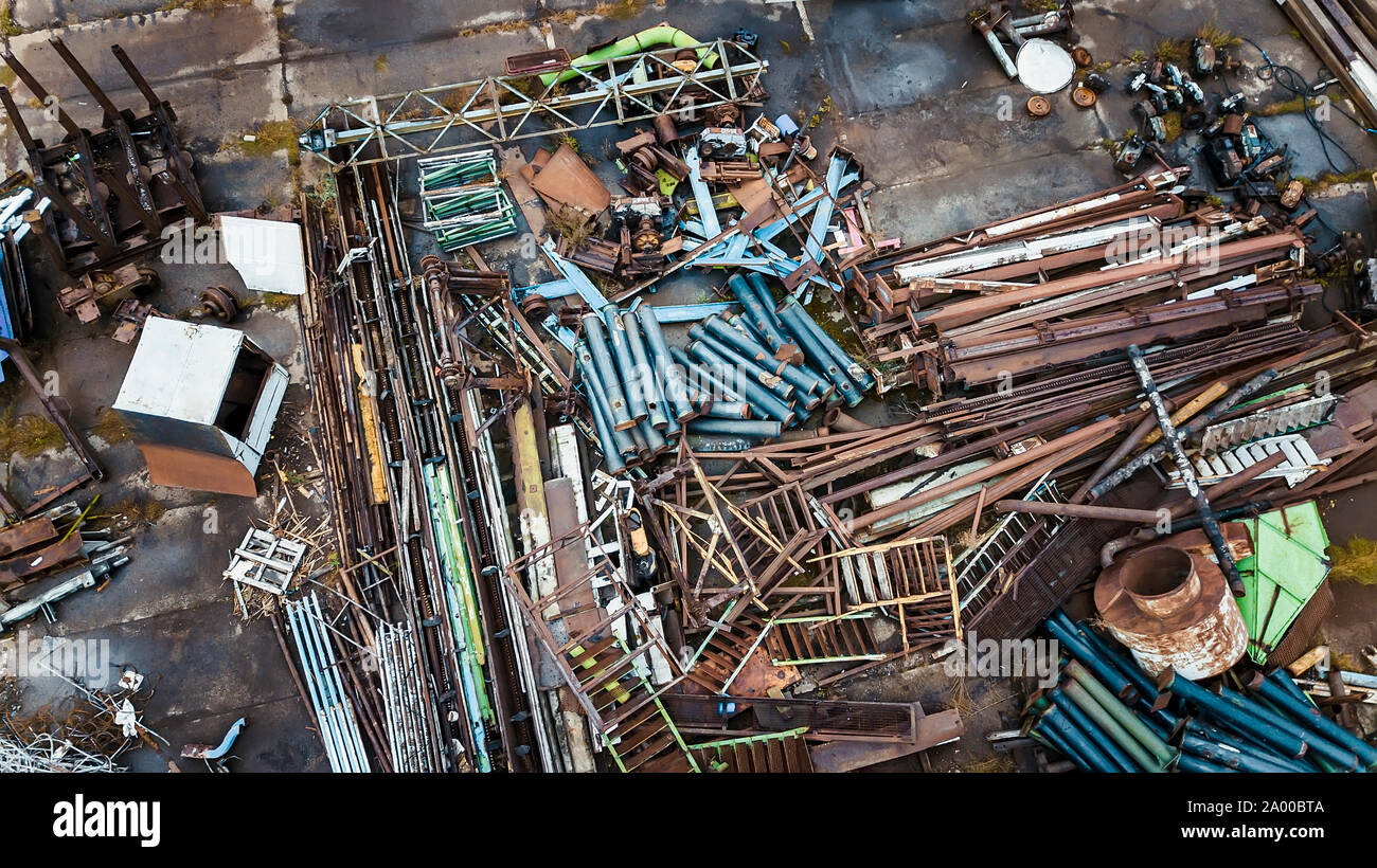 scrap metal dump top view aerial photography from a drone Stock Photo