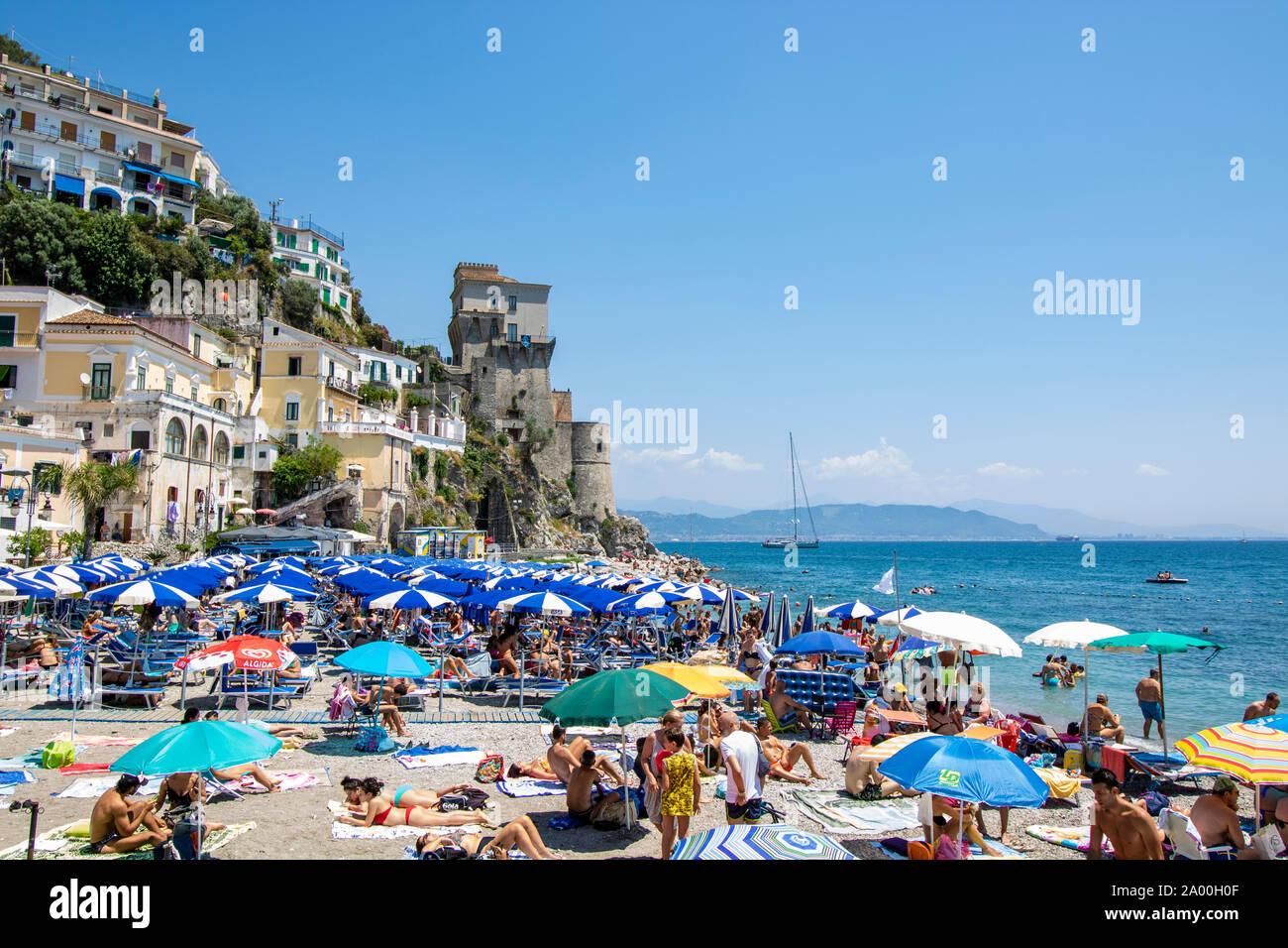 At Cetara Italy On July 2019 Beach On Amalfi Coast