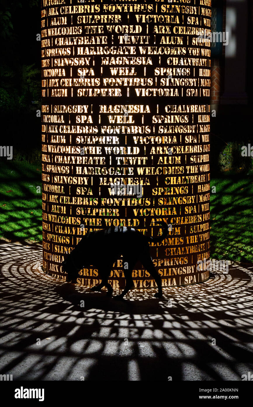 Silhouette of a black Labrador Dog next to a new light installation made from steel with the names of mineral wells, Valley Gardens, Harrogate, UK. Stock Photo