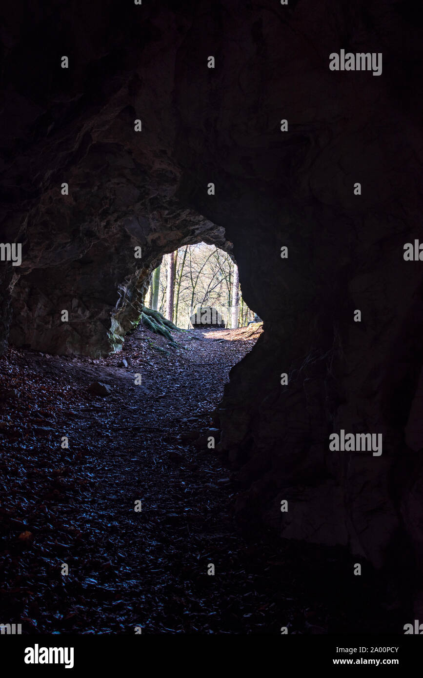 view from small Pruchodnice cave near Konice town in Czech republic with stone and forest Stock Photo
