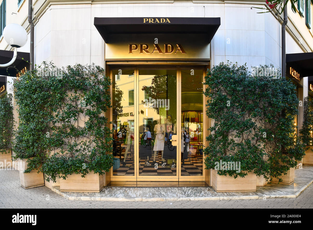 Italian Case Forte Dei Marmi facade of the prada luxury fashion shop in the centre of