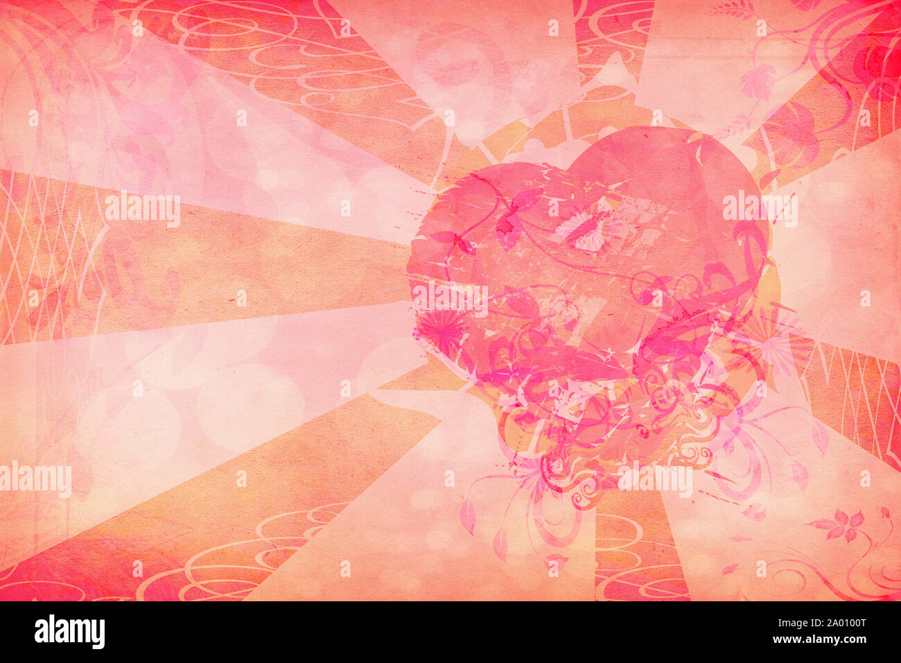 Abstract grunge heart shape on paper texture background. Stock Photo