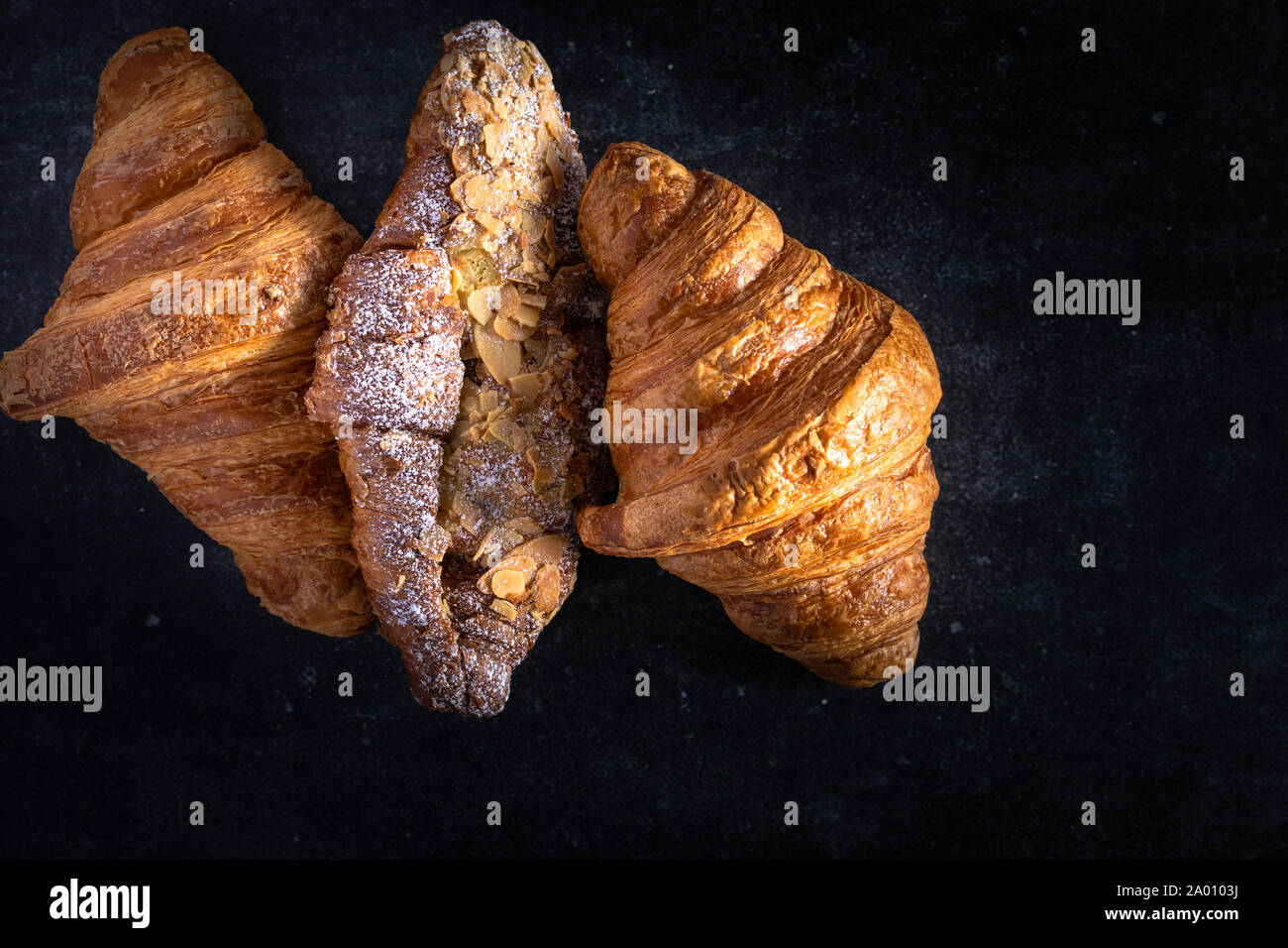 Plain and almond croissants Stock Photo
