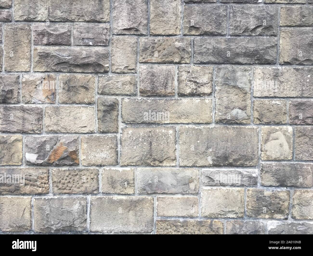 Stone Wall Texture with big bricks on ancient historic city wall in Germany, Europe. Can be used as a texture or background. Stock Photo