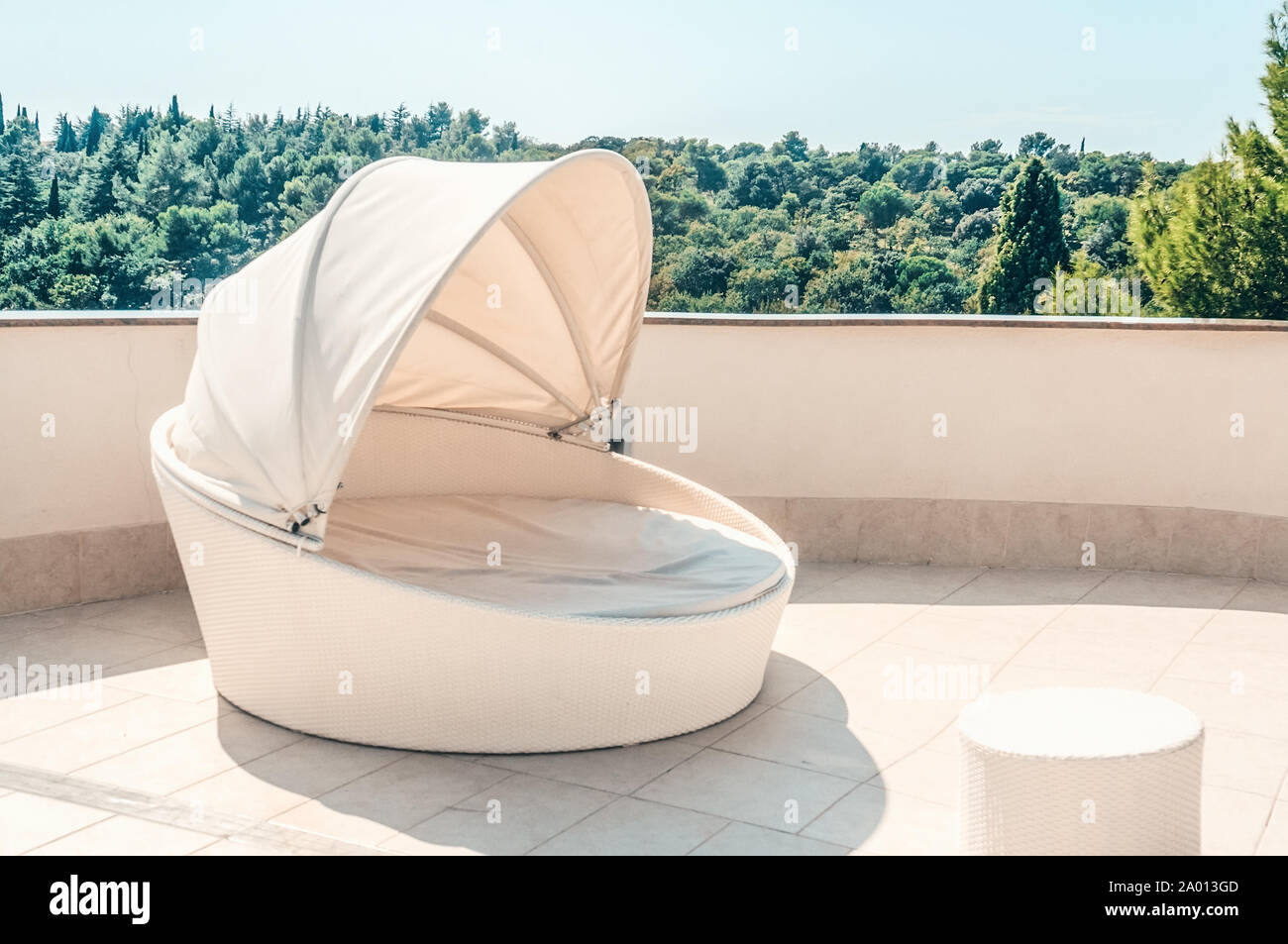 White Outdoor Furniture Round Rattan Sofa With Cushions A Place To Relax On The Terrace Of The Resort Stock Photo Alamy