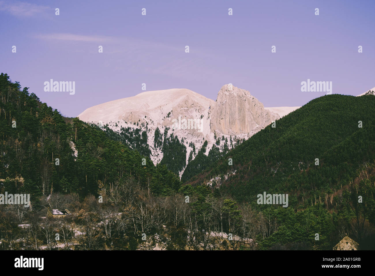 Landscape after snowing full of sun at the pirenair mountains in aragon Stock Photo