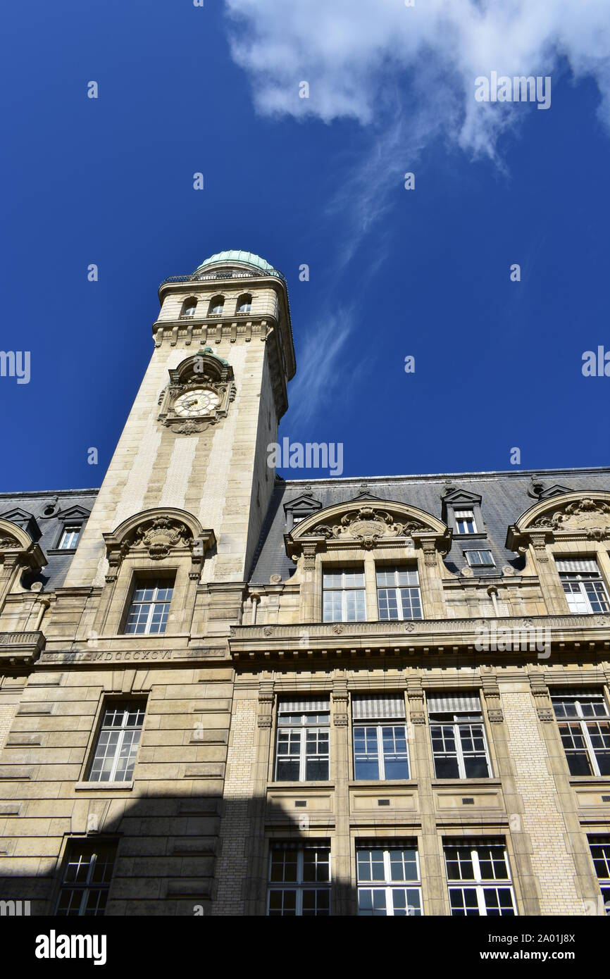 Astronomy Tower of the Sorbonne University with blue sky. Paris, France. Stock Photo