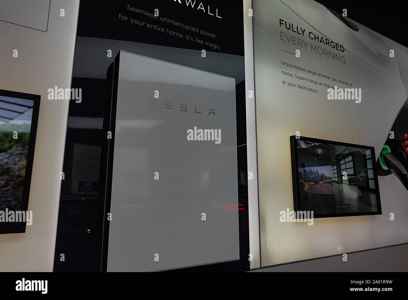 Seattle,WA/USA-9/15/29: A Tesla Battery Powerwall at the Tesla dealership in Seattle, WA.  Tesla, Inc. is an American automotive and energy company th Stock Photo