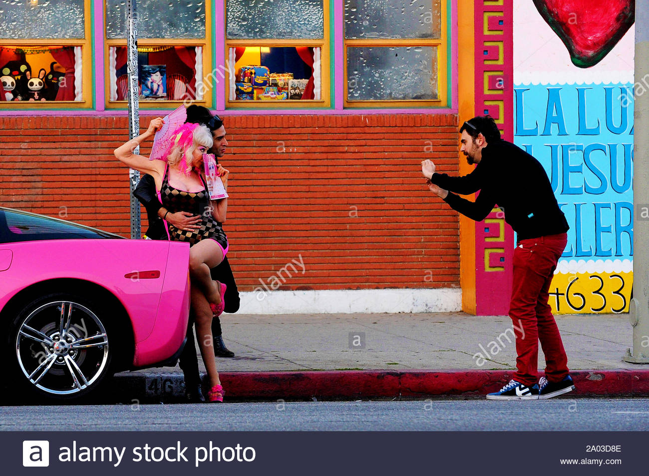 Art print POSTER CANVAS Angelyne Sitting in a Pink Corvette
