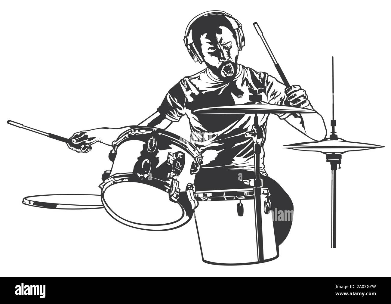 Drummer Sketch Drawing Stock Vector