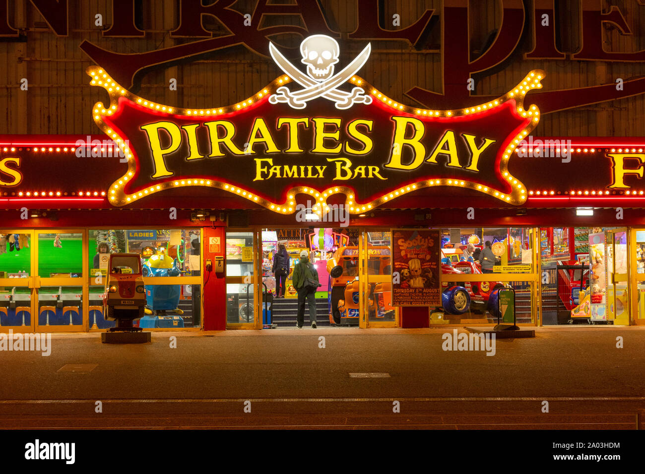Pirates Bay, a family bar and amusement arcase in Blackpool, a coastal holiday destination in Northwest of England Stock Photo