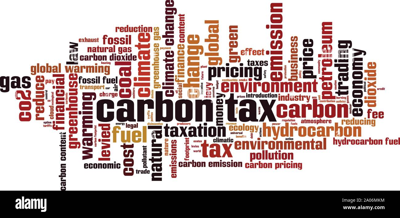 Carbon tax word cloud concept. Collage made of words about carbon tax. Vector illustration Stock Vector