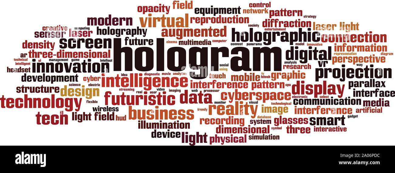 Hologram word cloud concept. Collage made of words about hologram. Vector illustration Stock Vector