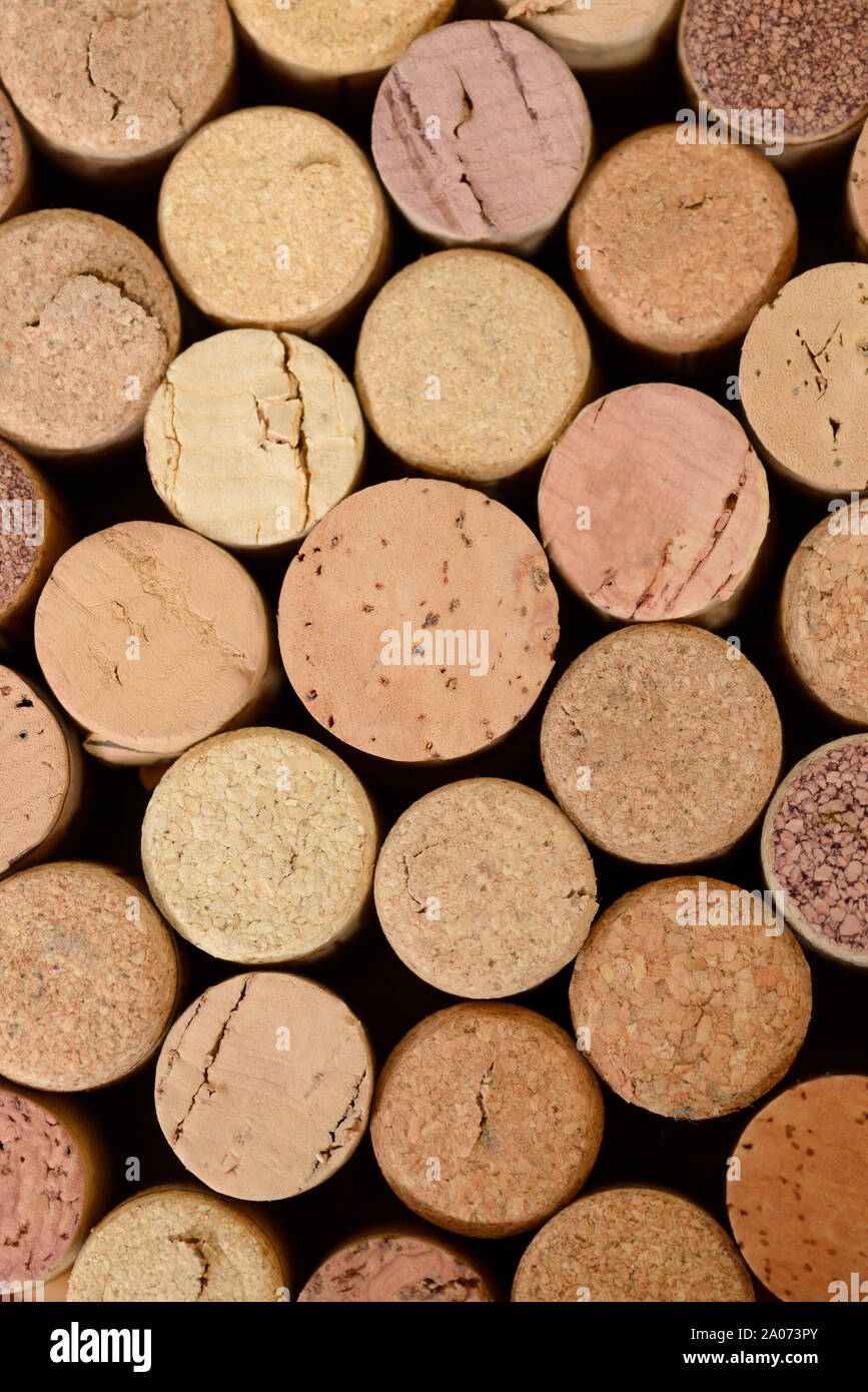 Close Up of Assorted Wine Corks Stock Photo