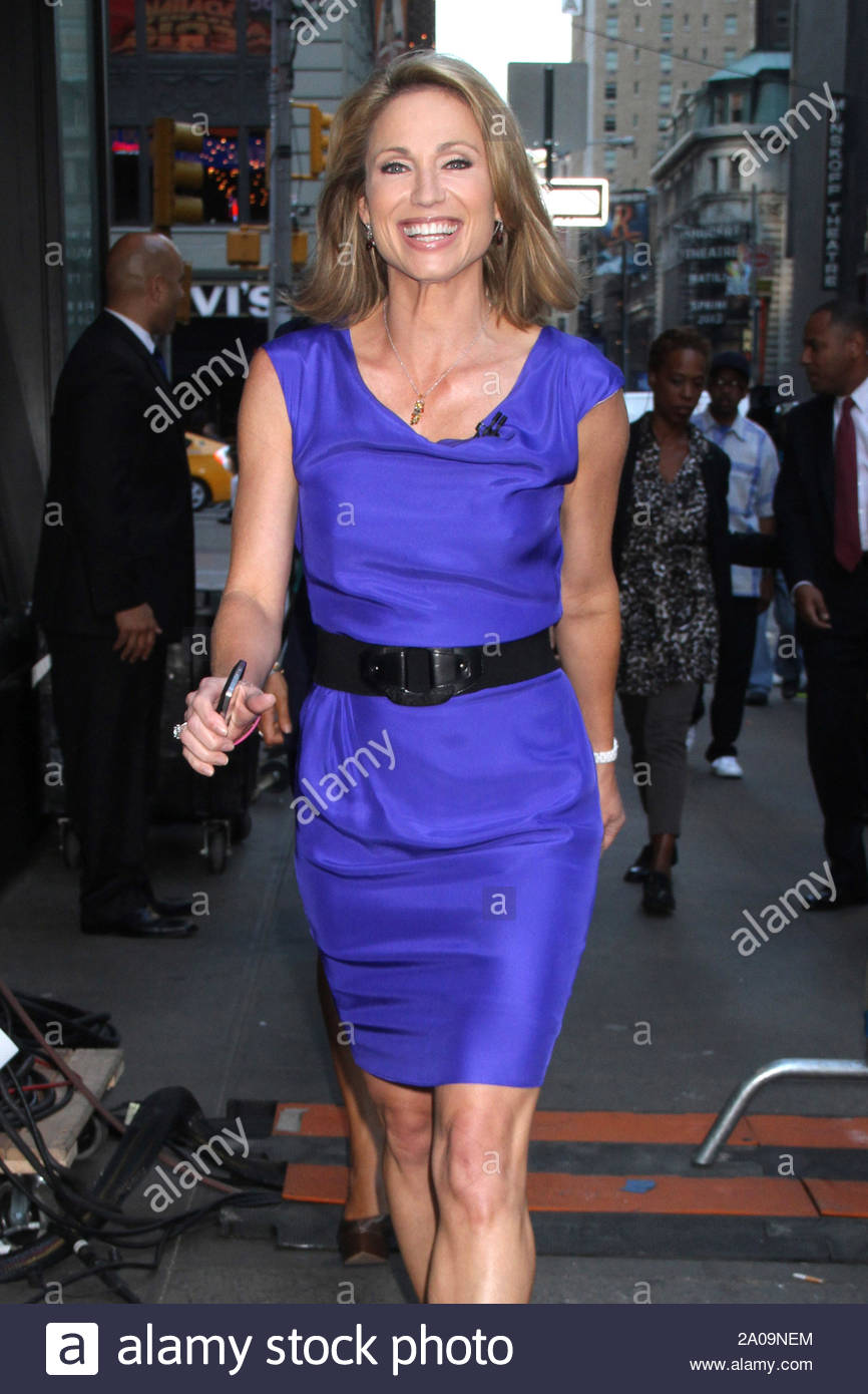 "New York, NY - Amy Robach arrives for ""Good Morning America"" in New York. AKM-GSI September 13, 2012 Stock Photo"