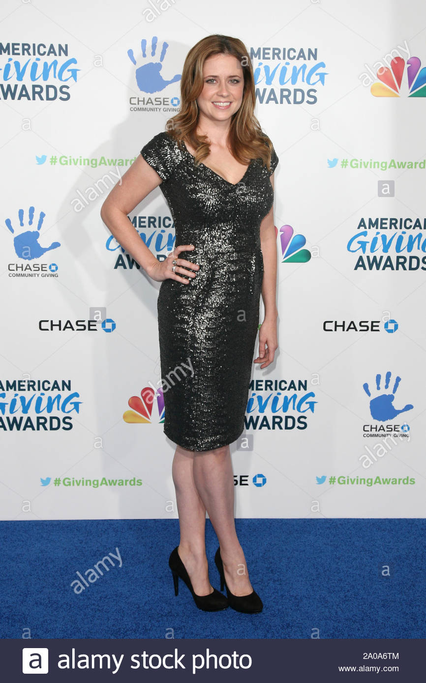 Pasadena, CA - Jenna Fischer arrives at the 2012 American Giving Awards, presented by Chase, held at the Pasadena Civic Auditorium. AKM-GSI December 7, 2012 Stock Photo