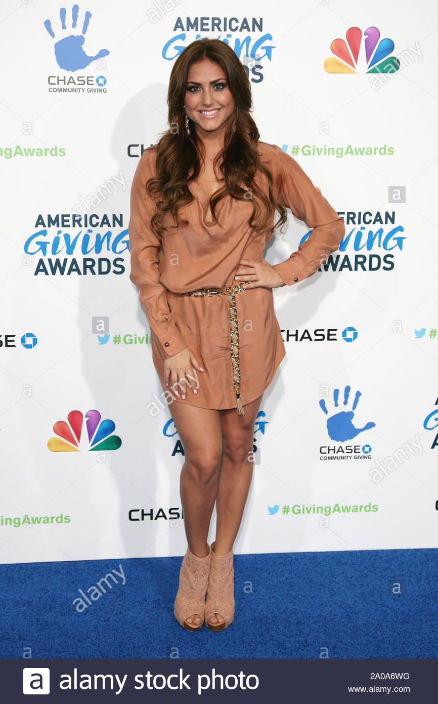 Pasadena, CA - Cassie Scerbo arrives at the 2012 American Giving Awards, presented by Chase, held at the Pasadena Civic Auditorium. AKM-GSI December 7, 2012 Stock Photo