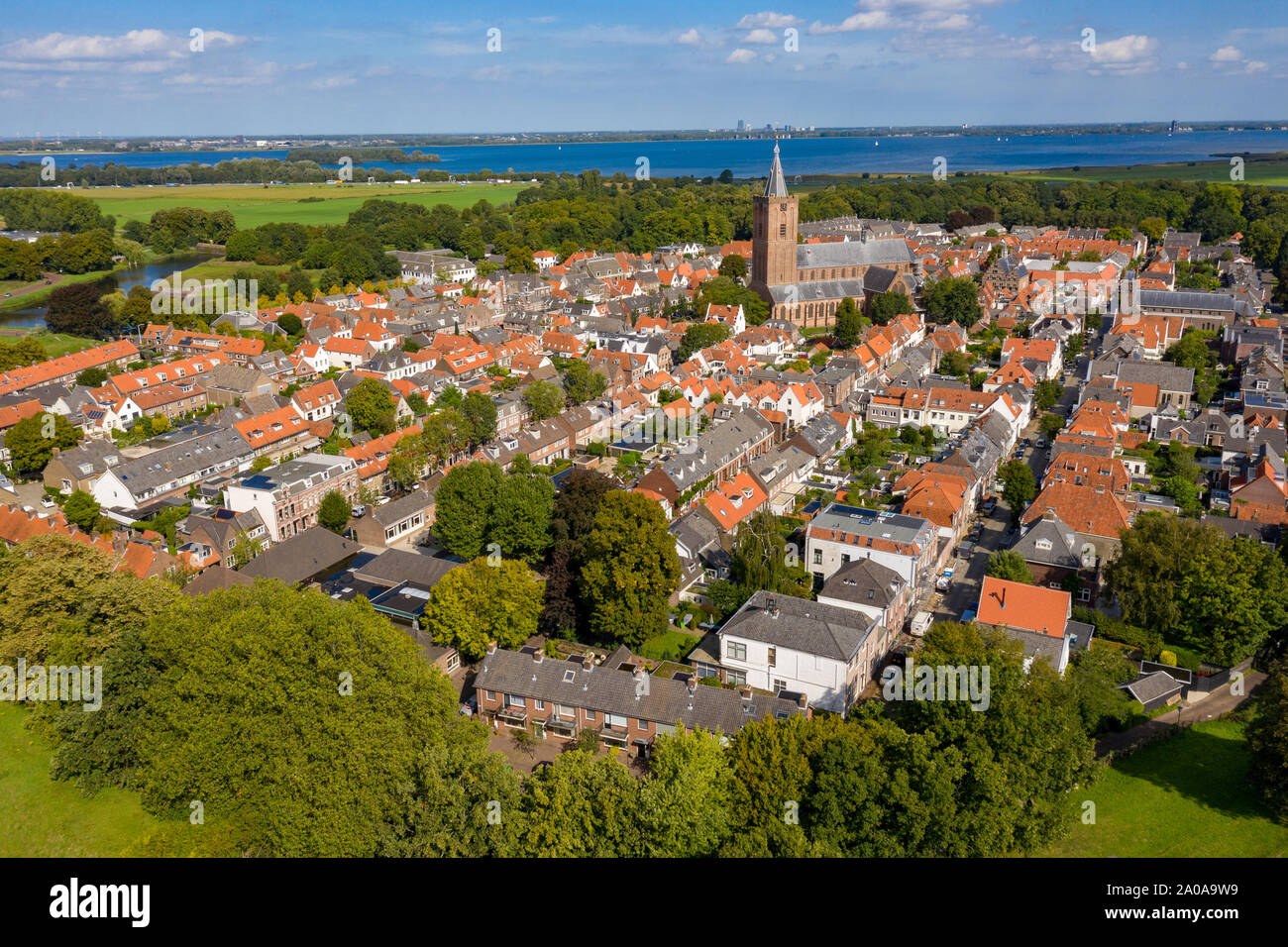 Naarden Vesting Netherlands, fortress city from the Middle Ages from the air Stock Photo