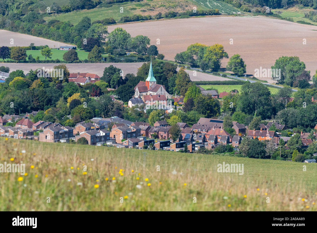 Fabulous views from the downs from Harting Downs towards the village of South Harting and The Parish Church of Saint Mary and Saint Gabriel Harting b Stock Photo