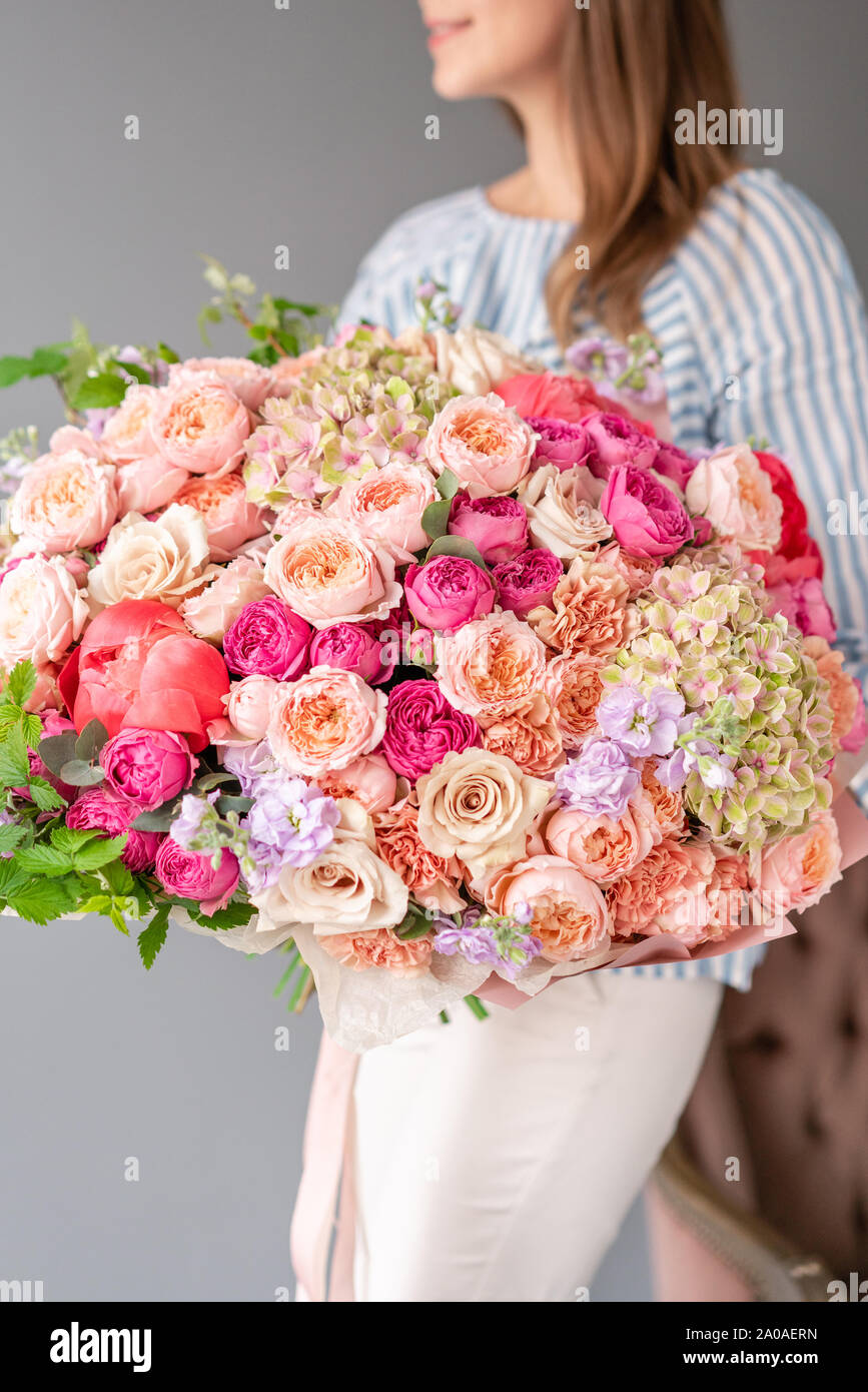 Large Beautiful Bouquet Of Mixed Flowers In Woman Hand Floral