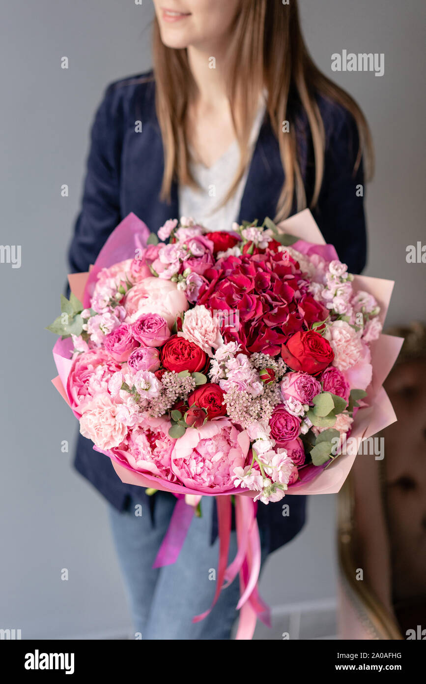 Pink Peonies And Red Hydrangea Beautiful Bouquet Of Mixed Flowers In Woman Hand Floral Shop Concept Handsome Fresh Bouquet Flowers Delivery Red Stock Photo Alamy