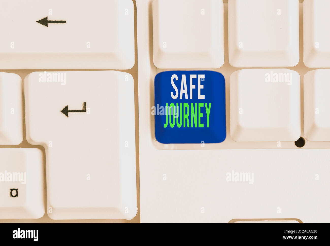 Word Writing Text Safe Journey Business Photo Showcasing Blessing Bid Farewell Drive Carefully Use Seatbelt Strap White Pc Keyboard With Empty Note P Stock Photo Alamy
