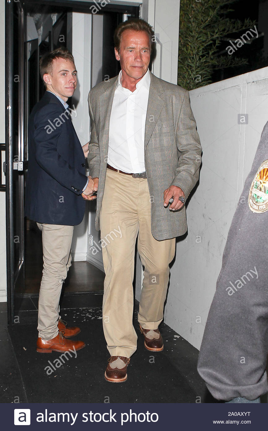 West Hollywood, CA - Actor Arnold Schwarzenegger leaving Bistrot Bagatelle in West Hollywood. AKM-GSI July 13, 2012 Stock Photo