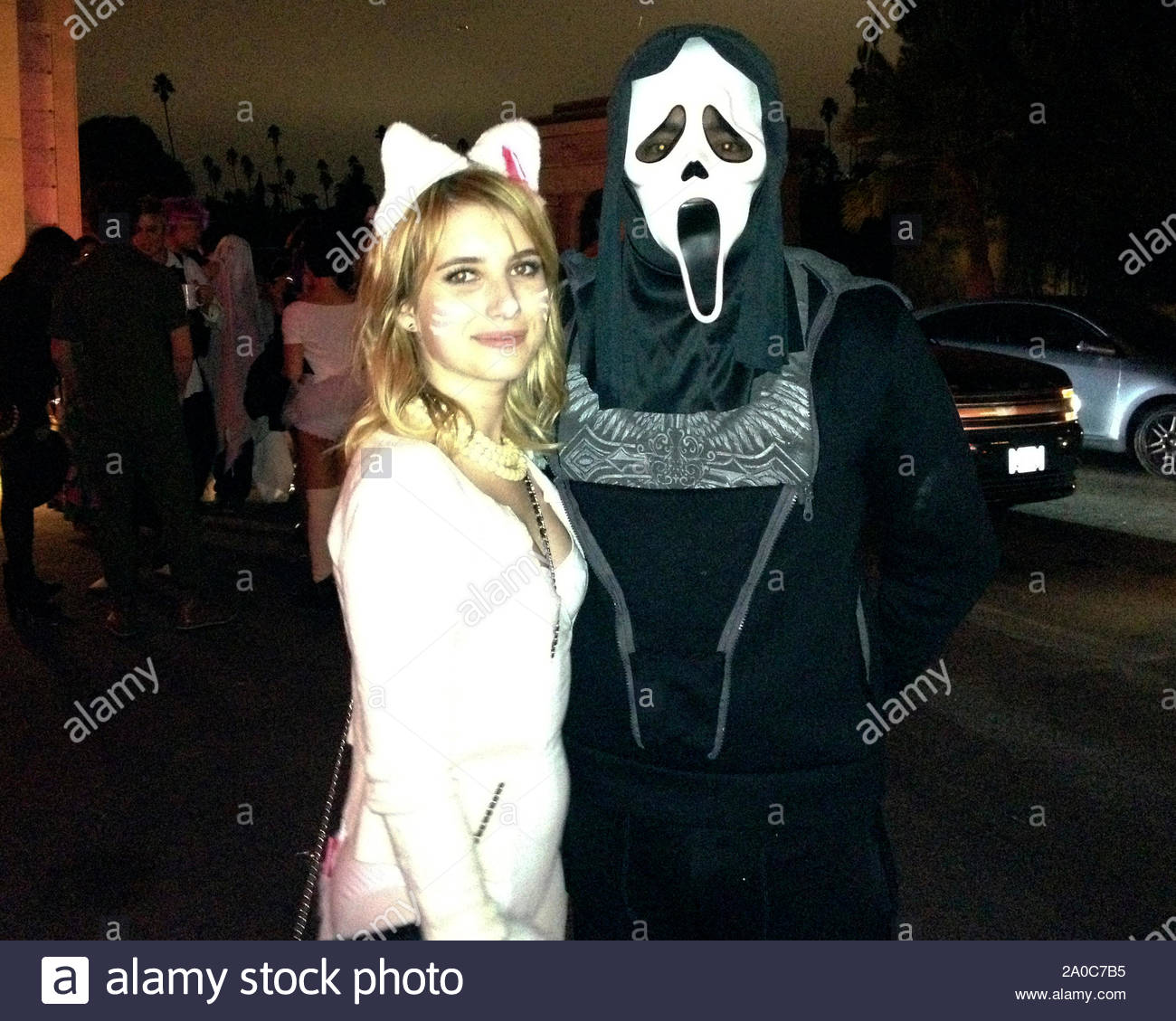 Hollywood Ca Actress Emma Roberts Seen Dressed Like A Cute Kitty Cat As She Hits A Halloween Party At Hollywood Forever Cemetery Emma Was Seen With A Masked Companion Wearing The