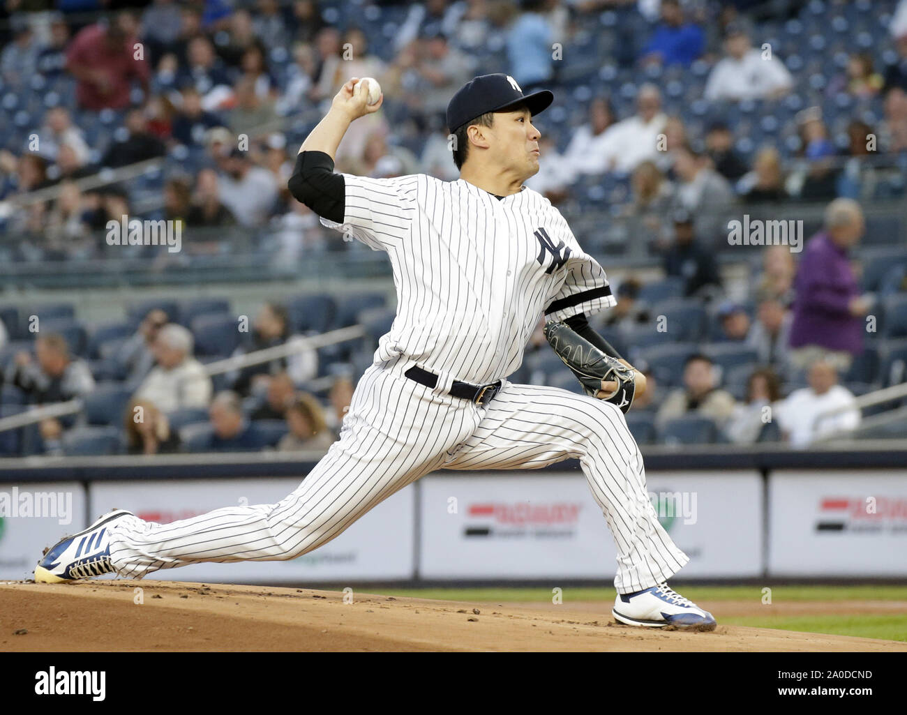 Bronx, United States. 19th Sep, 2019. New York Yankees starting pitcher Masahiro Tanaka throws a pitch in the first inning against the Los Angeles Angels at Yankee Stadium on Thursday, September 19, 2019 in New York City. Photo by John Angelillo/UPI Credit: UPI/Alamy Live News Stock Photo