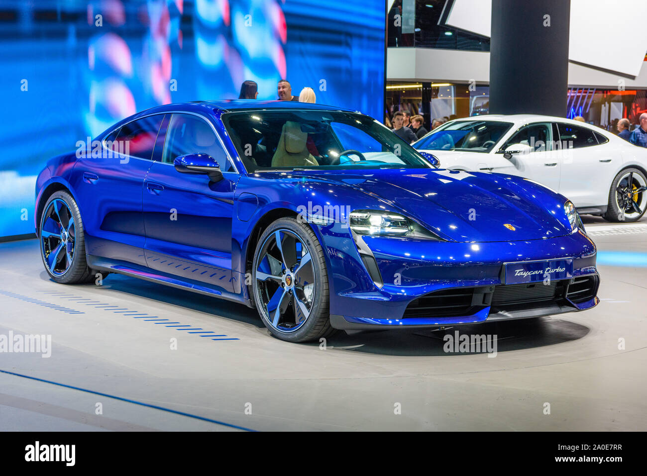 Frankfurt Germany Sept 2019 Blue Porsche Taycan Turbo S Is An All Electric 4 Door Coupe Was First Unveiled As A Concept Car Named Mission E Iaa I Stock Photo Alamy