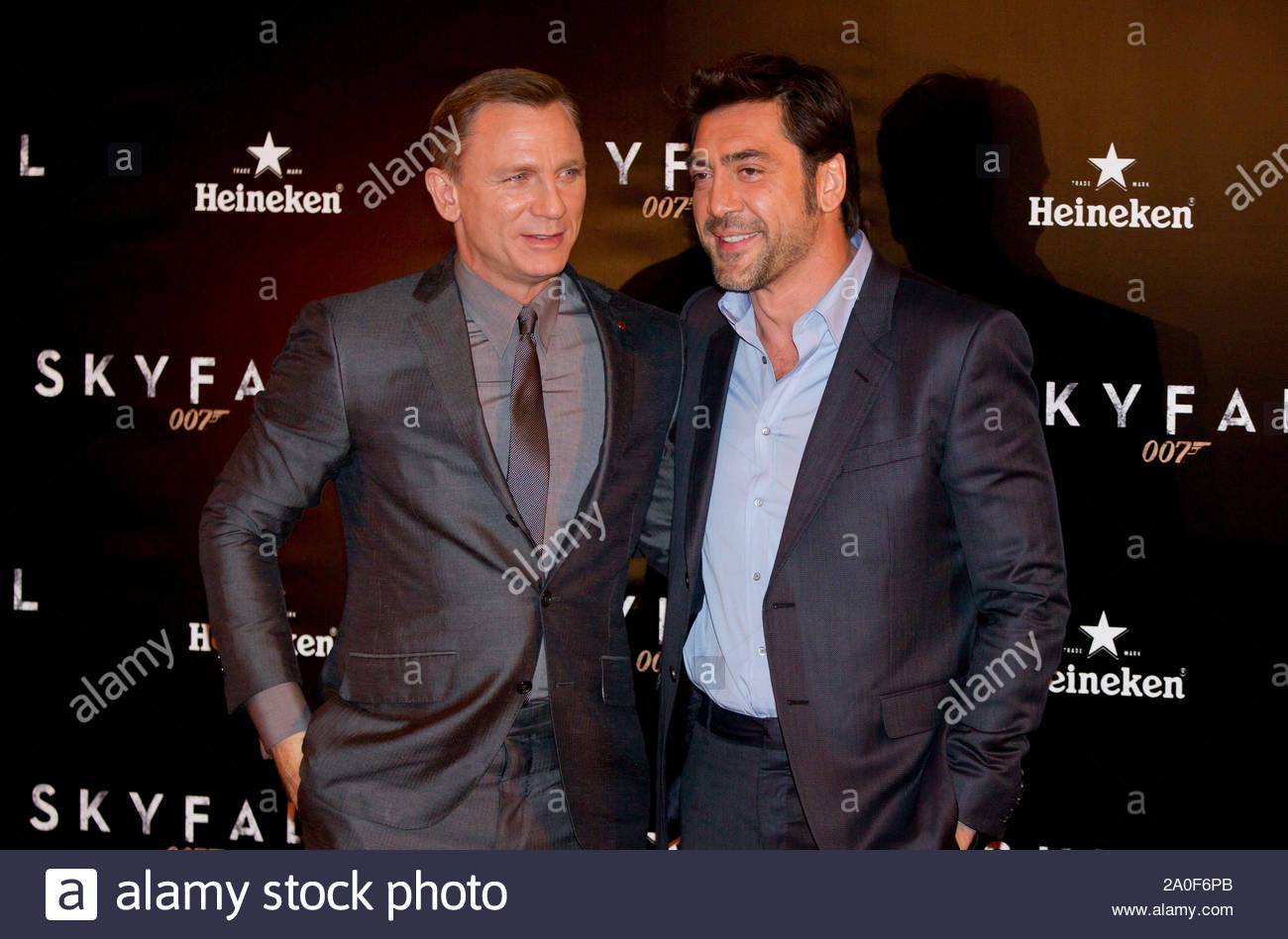 """Madrid, Spain - Actor Daniel Craig and Javier Bardem attend the """"Skyfall"""" premiere held at the Espanol Theater in Madrid, Spain. AKM-GSI October 29, 2012 Stock Photo"""