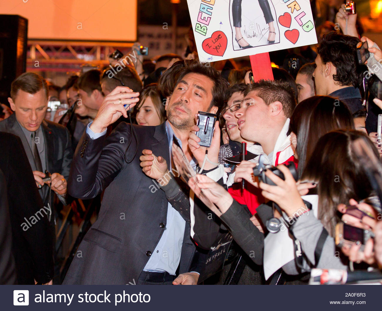 """Madrid, Spain - Actor Javier Bardem attends the """"Skyfall"""" premiere held at the Espanol Theater in Madrid, Spain. AKM-GSI October 29, 2012 Stock Photo"""