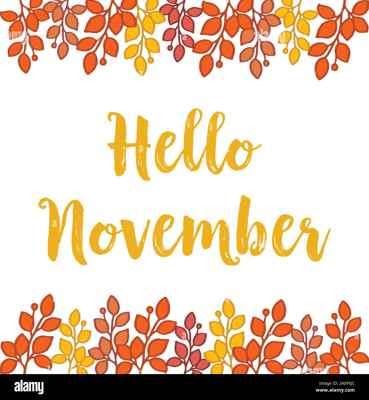 Lettering Hello November On White Backdrop With Wallpaper