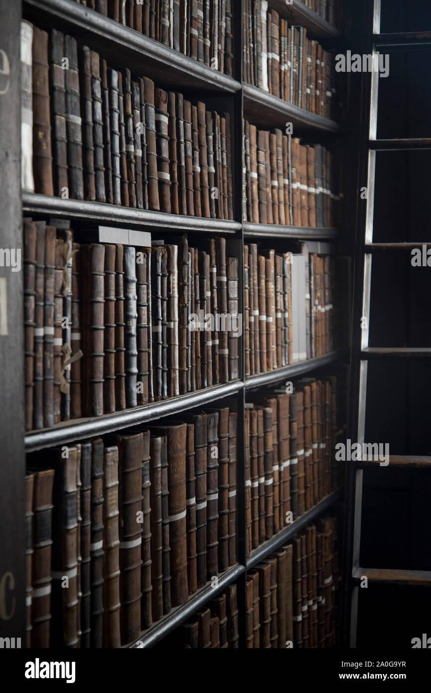 Long Room Library in Trinity College Dublin Ireland Stock Photo
