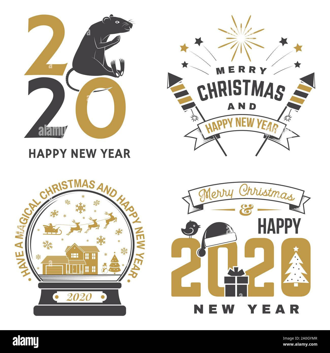 Christmas Stamps 2020 Set of Merry Christmas and 2020 Happy New Year stamp, sticker Set