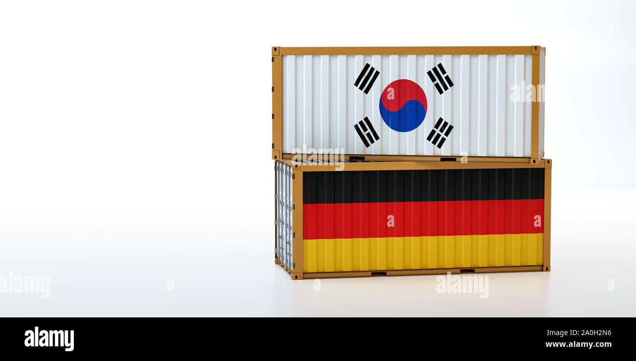 Two freight container with South Korea and Germany flag. Copy space on the left side - 3D Rendering Stock Photo