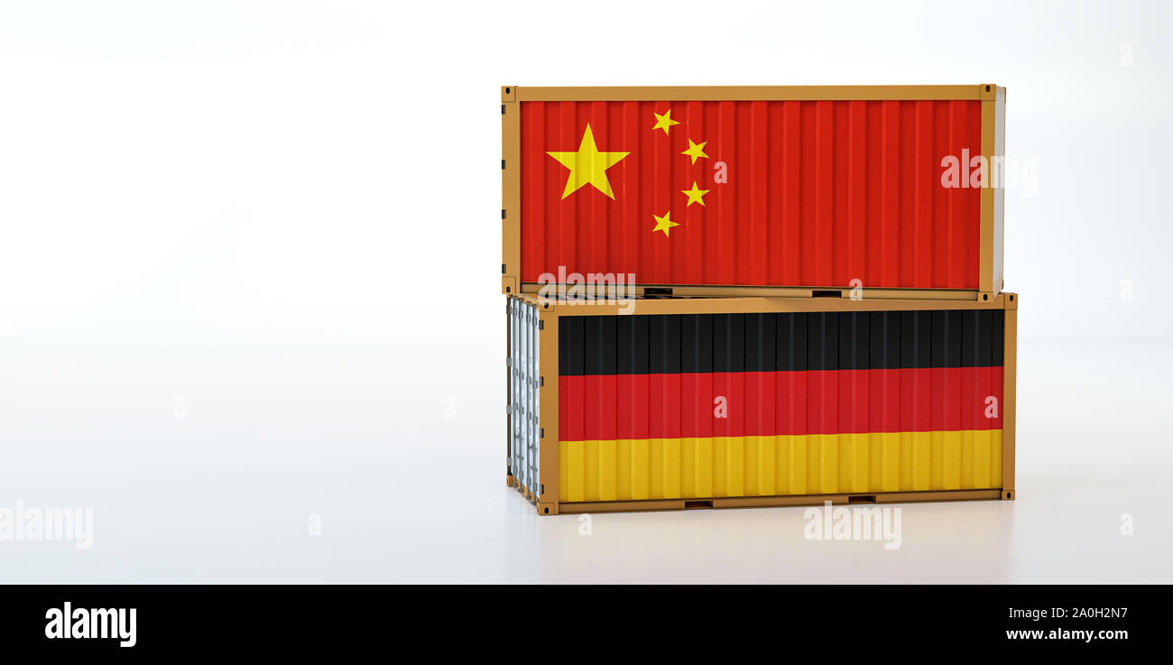 Two freight container with China and Germany flag. Copy space on the left side - 3D Rendering Stock Photo