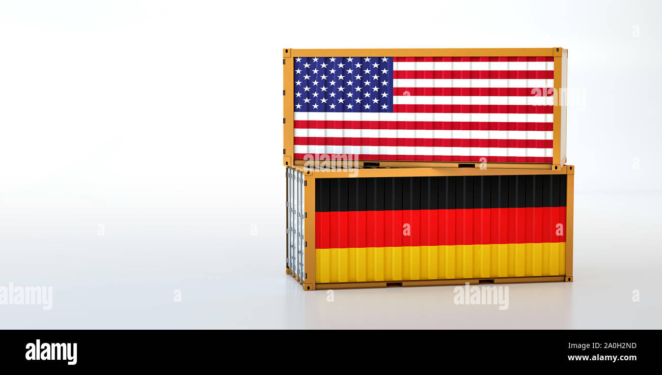 Two freight container with USA and Germany flag. Copy space on the left side - 3D Rendering Stock Photo