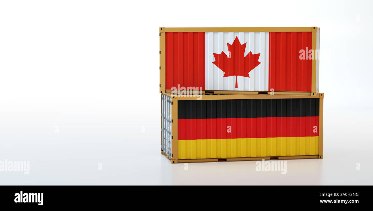 Two freight container with Canada and Germany flag. Copy space on the left side - 3D Rendering Stock Photo