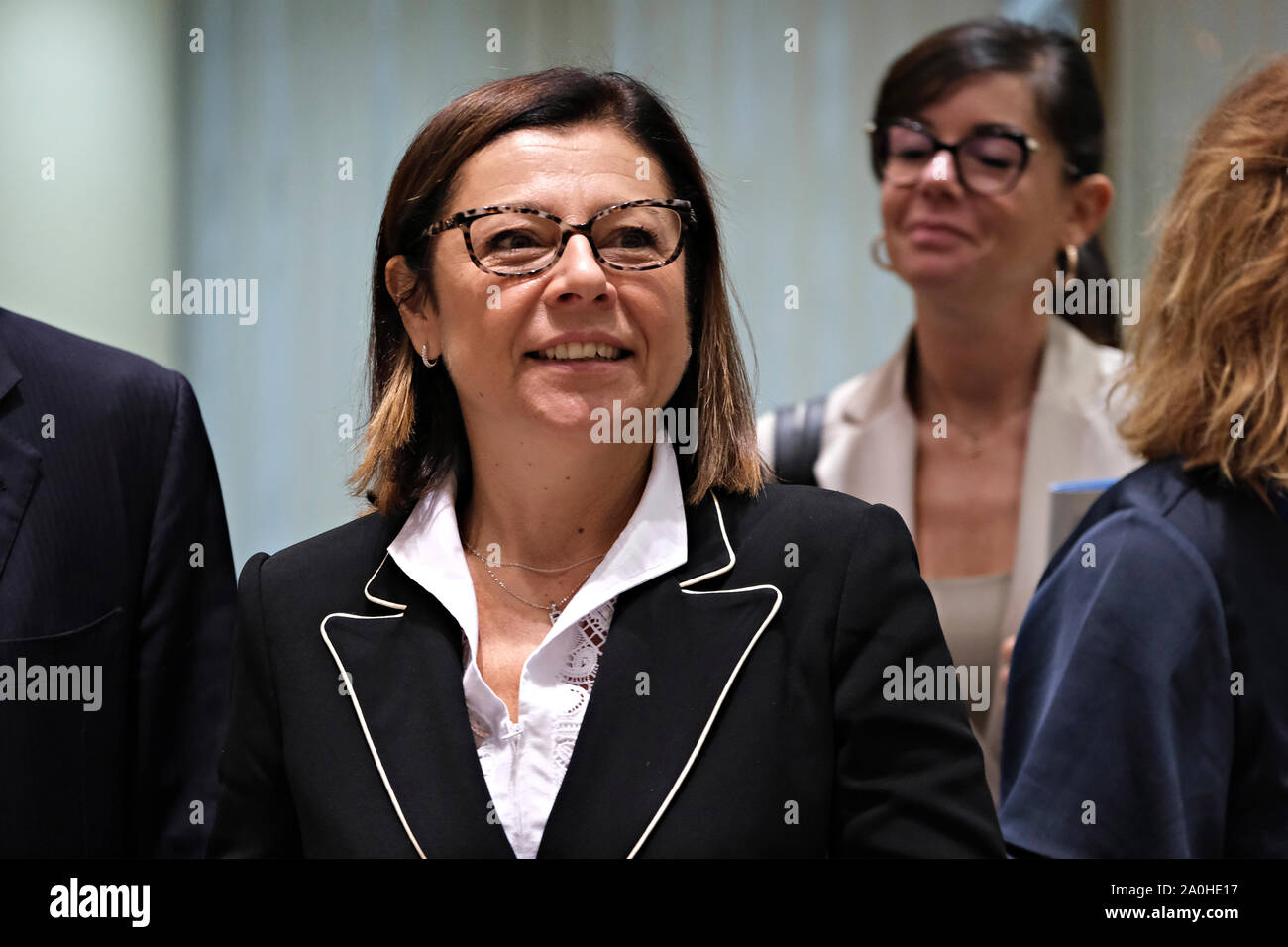Brussels, Belgium. 20th September 2019.  Paola De Micheli, Minister of Infrastructures and Transport of Italy during an European Transport, Telecommunications and Energy (TTE) Council. Credit: ALEXANDROS MICHAILIDIS/Alamy Live News Stock Photo