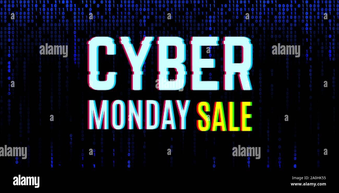 Cyber monday clearance sale concept with a binary background Stock Vector