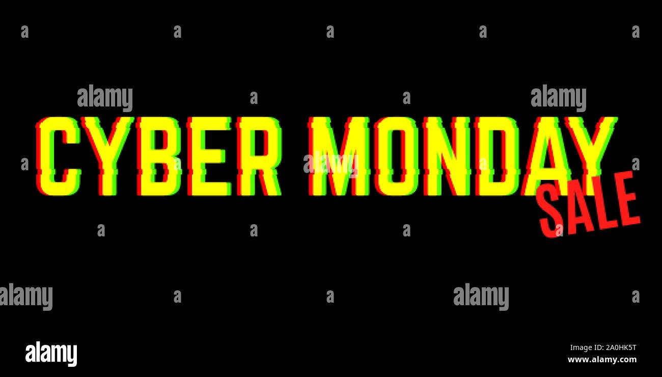Cyber monday sale banner with anaglyph effect Stock Vector