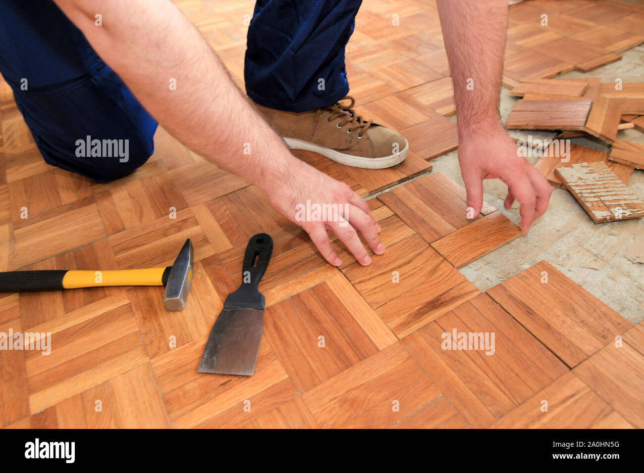 Construction Worker And Constructor Is Working On Renovation Of