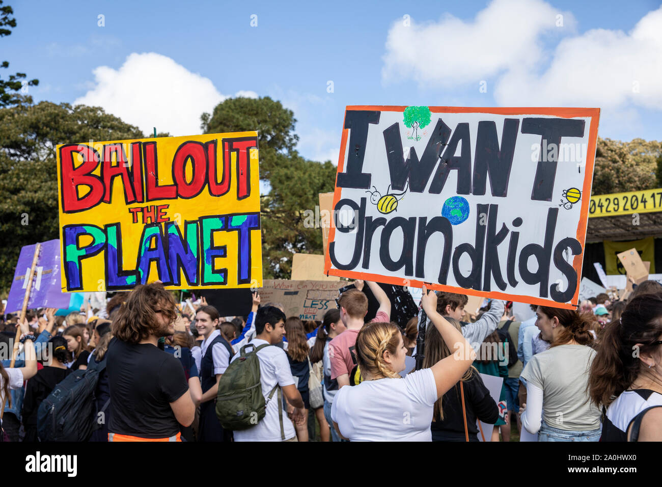 School children protest at the Sydney global climate change strike in the Domain,Sydney,Australia Stock Photo
