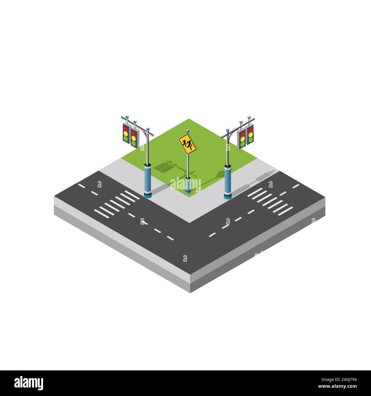 Isometric 3d module block district part Stock Vector