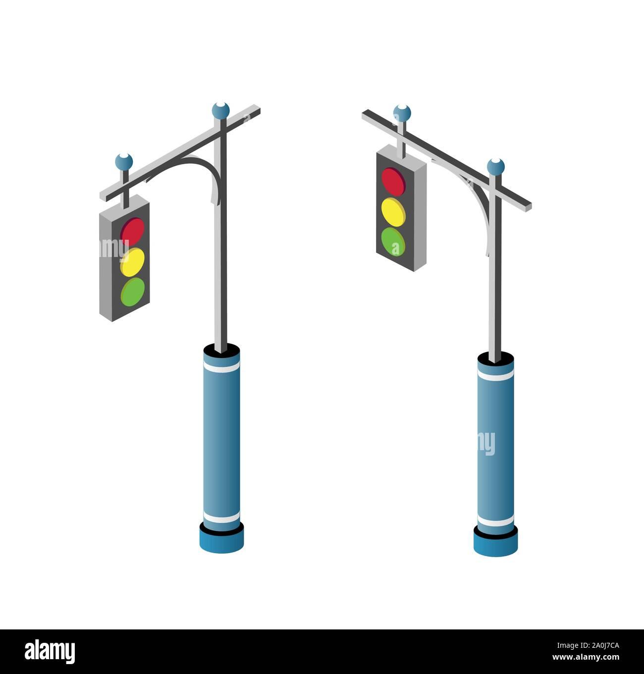 Set of isometric city road Stock Vector
