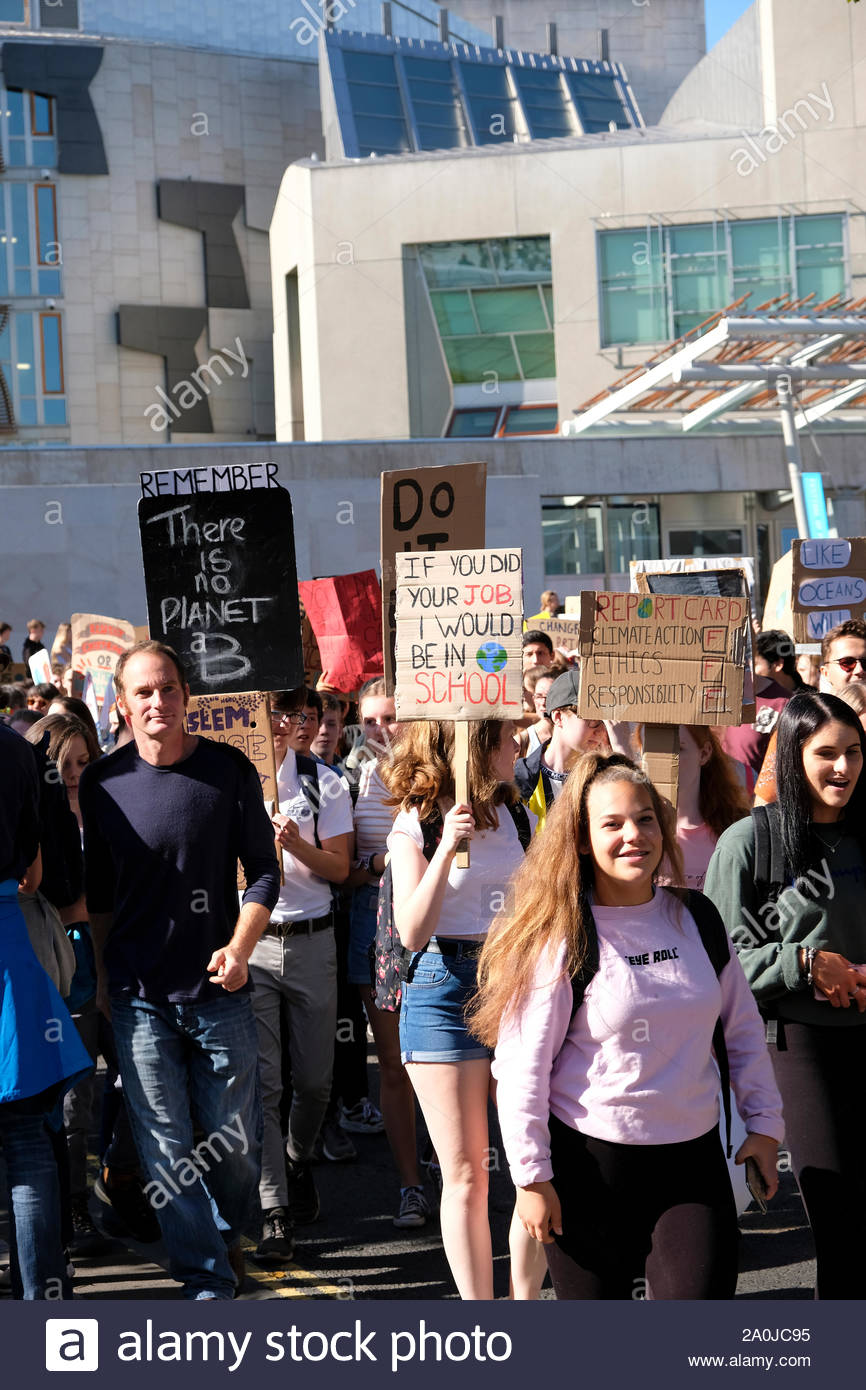 Edinburgh, Scotland, UK. 20th September 2019.  A youth led Global Climate Strike Rally outside the Scottish parliament involving Edinburgh Students, demanding greater action on climate breakdown. Credit: Craig Brown/Alamy Live News Stock Photo