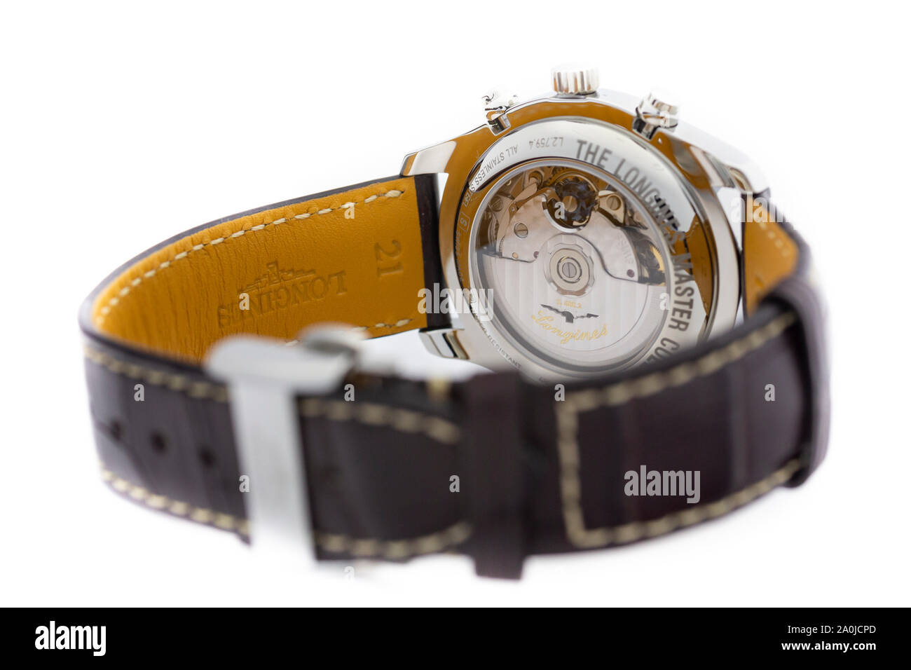 Saint-Imier, Switzerland September 15 2019 - Longines Men's Master Collection Automatic Date Chronograph Alligator Leather Strap Watch, Brown/White Stock Photo