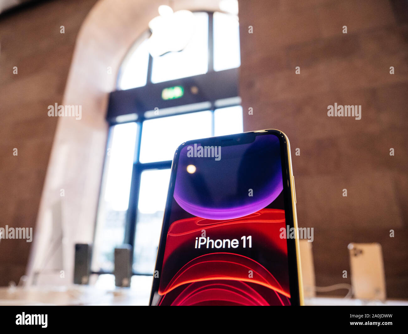 Paris France Sep 20 2019 The New Iphone 11 Red Wallpaper Displayed In Apple Store As The Smartphone By Apple Computers Goes On Sale Stock Photo Alamy