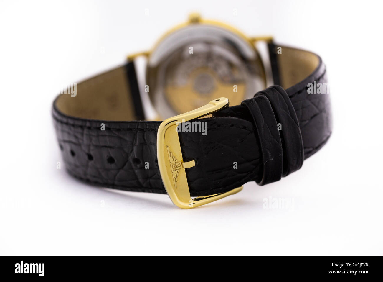 Saint-Imier, Switzerland September 15 2019 - Longines La Grande Classic mechamic watch mechanism Automatic White Dial Men's Watch swiss made luxury Stock Photo
